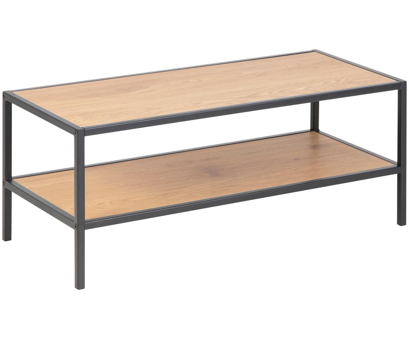 Zapatero Seaford, 2 estantes, Estantes: tablero de fibras de dens, Estructura: metal con pintura en polv, Roble, An 77 x Al 32 cm