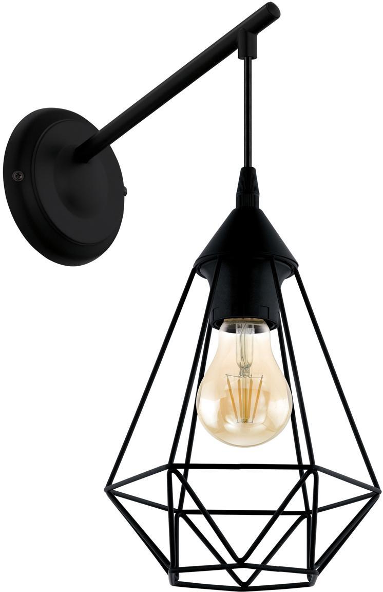 Wandlamp Tarbes, Staal, Zwart, 16 x 38 cm