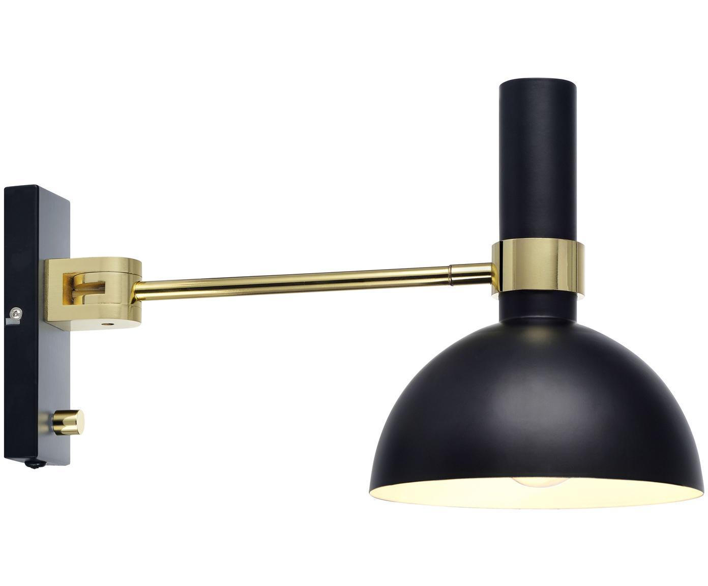 Wandlamp Larry met stekker, Zwart, messingkleurig, 19 x 24 cm