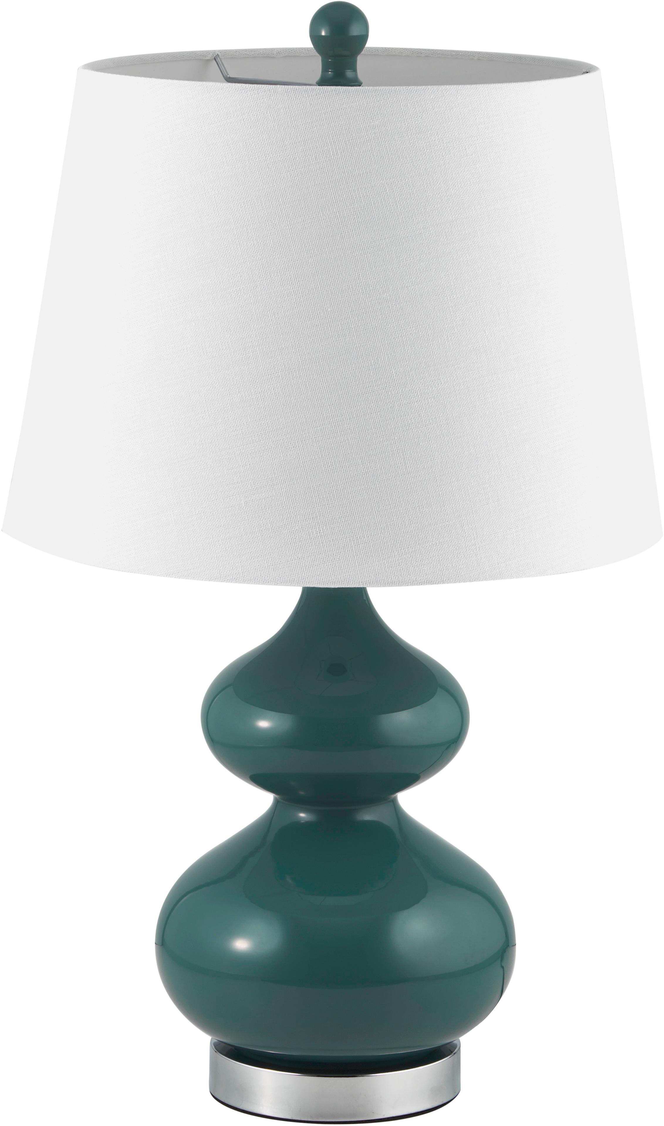 Grote tafellampen Felicitas, 2 stuks, Lampenkap: katoen, Lampvoet: metaal, gelakt glas, Groen, Ø 35 x H 58 cm