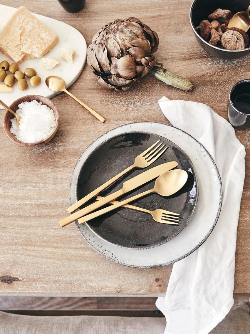 Handgemachte Frühstücksteller Nordic Coal aus Steingut, 4 Stück, Steingut, Bräunlich, Ø 20 x H 3 cm