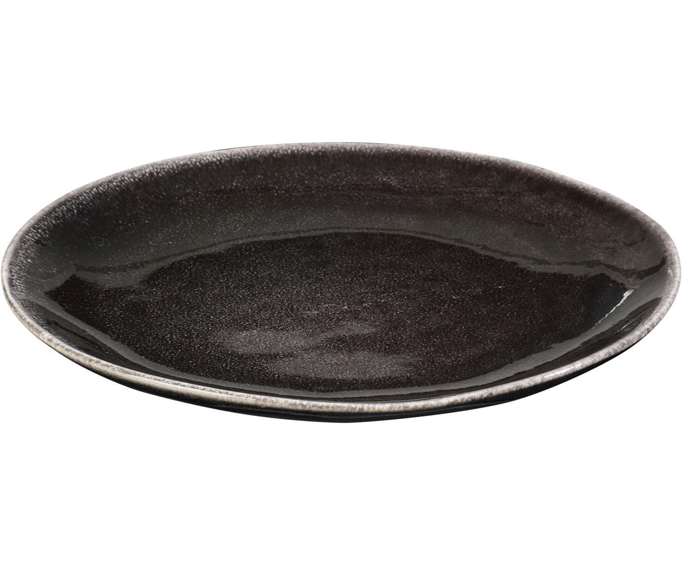 Ręcznie wykonany talerz śniadaniowy Nordic Coal, 4 szt., Kamionka, Brązowy, Ø 20 x W 2 cm