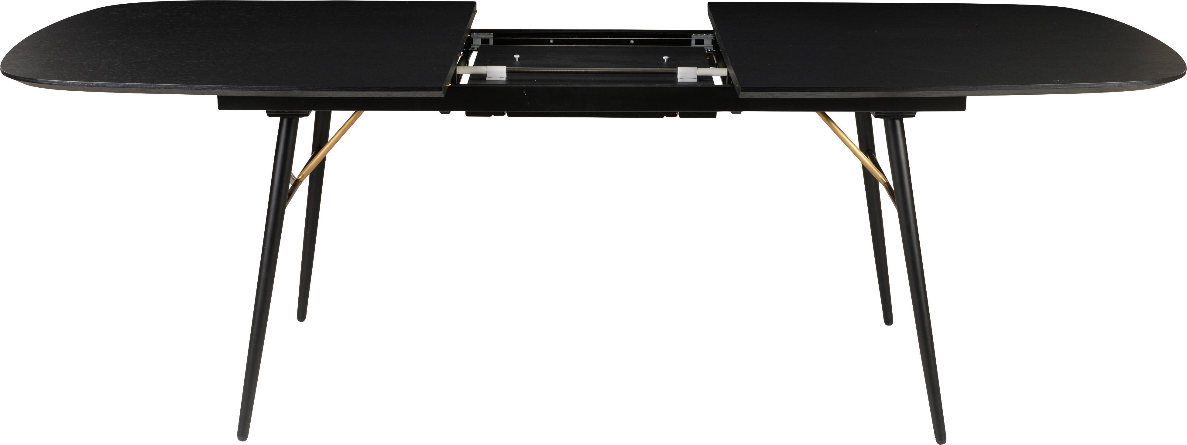 Table extensible noire Verona, Noir, laiton