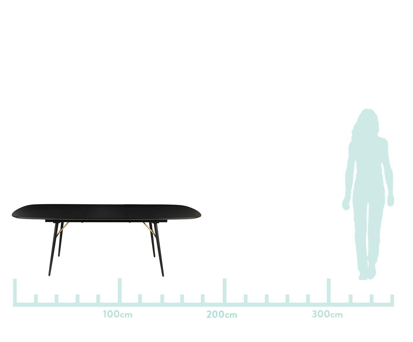 Ausziehbarer Esstisch Verona in Schwarz, Tischplatte: Mitteldichte Holzfaserpla, Schwarz, Messing, B 180 x T 105 cm