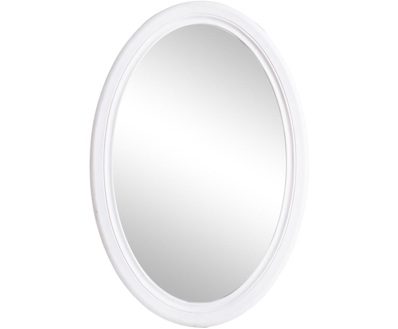 Specchio da parete ovale con cornice in legno Daisy, Cornice: pannello di fibra a media, Superficie dello specchio: lastra di vetro, Bianco, Larg. 48 x Alt. 70 cm