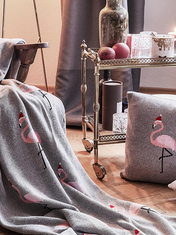 Strick-Kissenhülle Flamingo, Baumwolle, Grau, Mehrfarbig, 40 x 40 cm