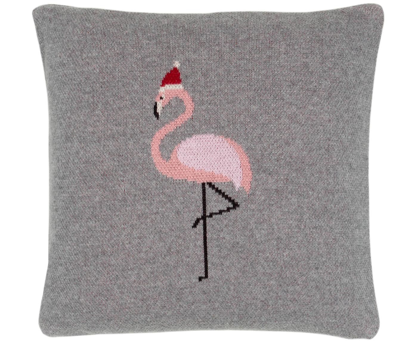 Gebreide kussenhoes Flamingo, 100% katoen, Grijs, multicolour, 40 x 40 cm