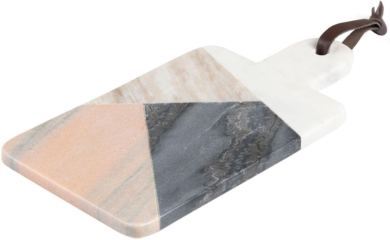 Deska do krojenia z marmuru Bradney, Ceramika, marmur, sztuczna skóra, Wielobarwny, S 15 x G 30 cm