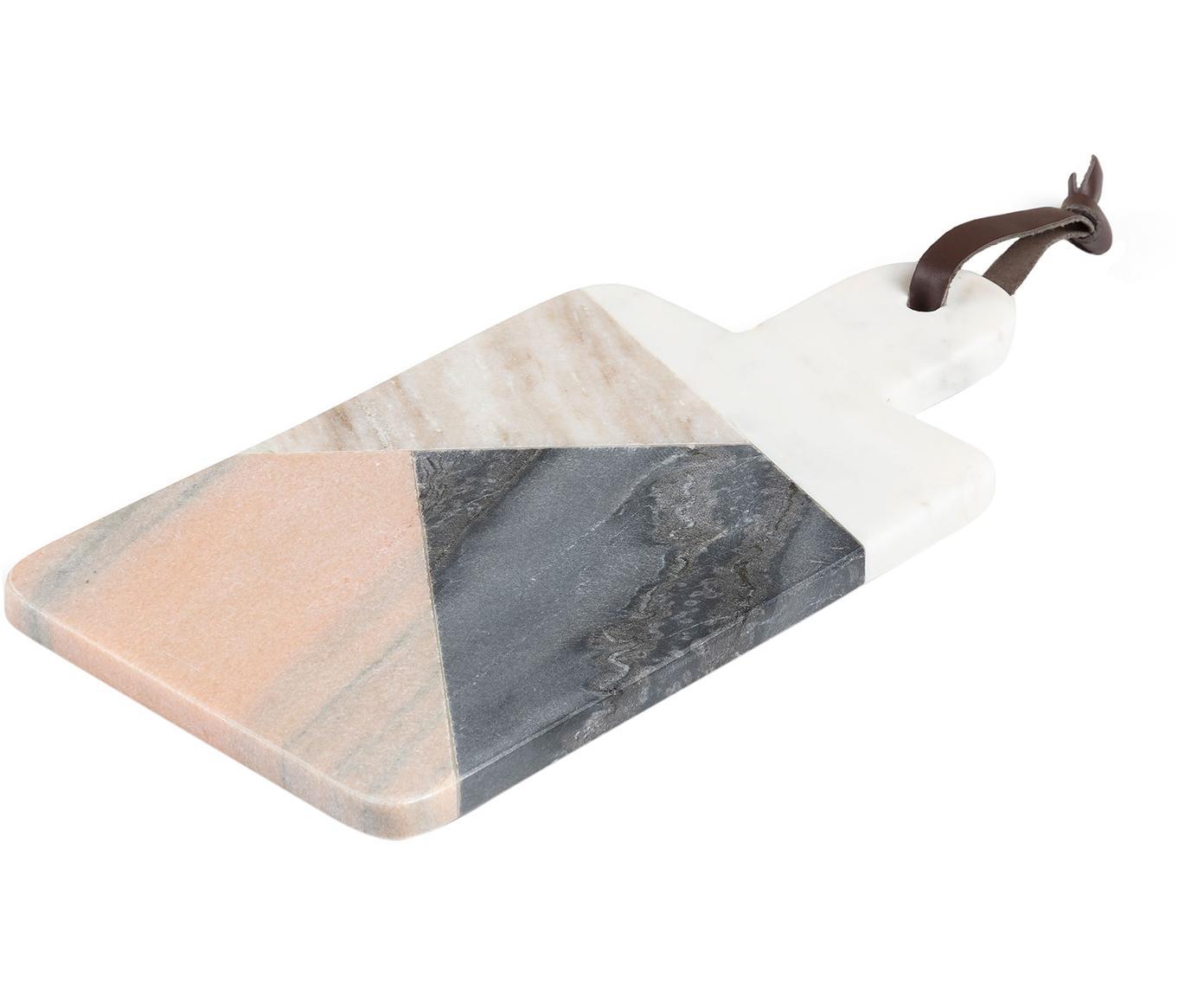 Marmor-Schneidebrett Bradney, Keramik, Marmor, Kunstleder, Mehrfarbig, B 15 x T 30 cm