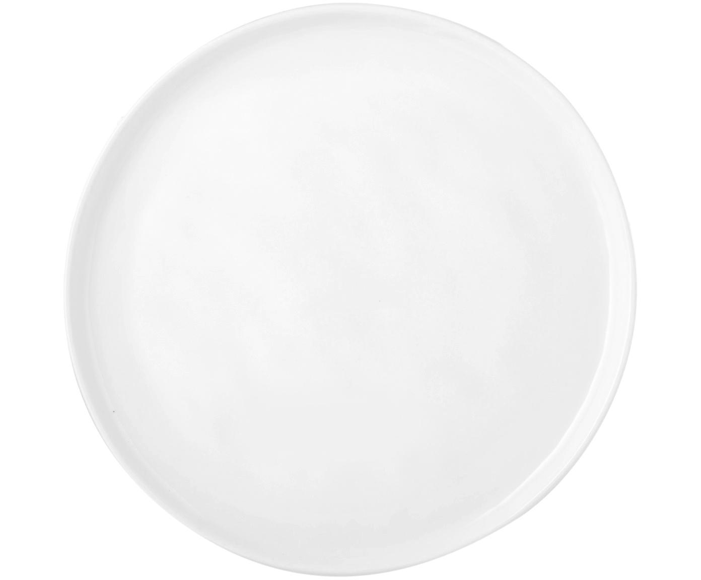 Piatto da colazione Porcelino 4 pz, Porcellana, volutamente irregolare, Bianco, Ø 22 cm