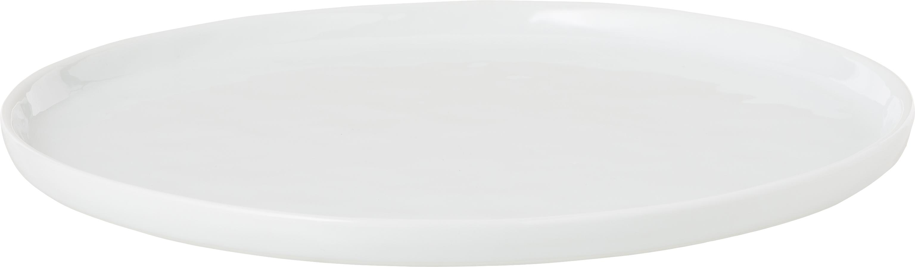 Piattino da dessert Porcelino 4 pz, Porcellana, volutamente irregolare, Bianco, Ø 22 cm
