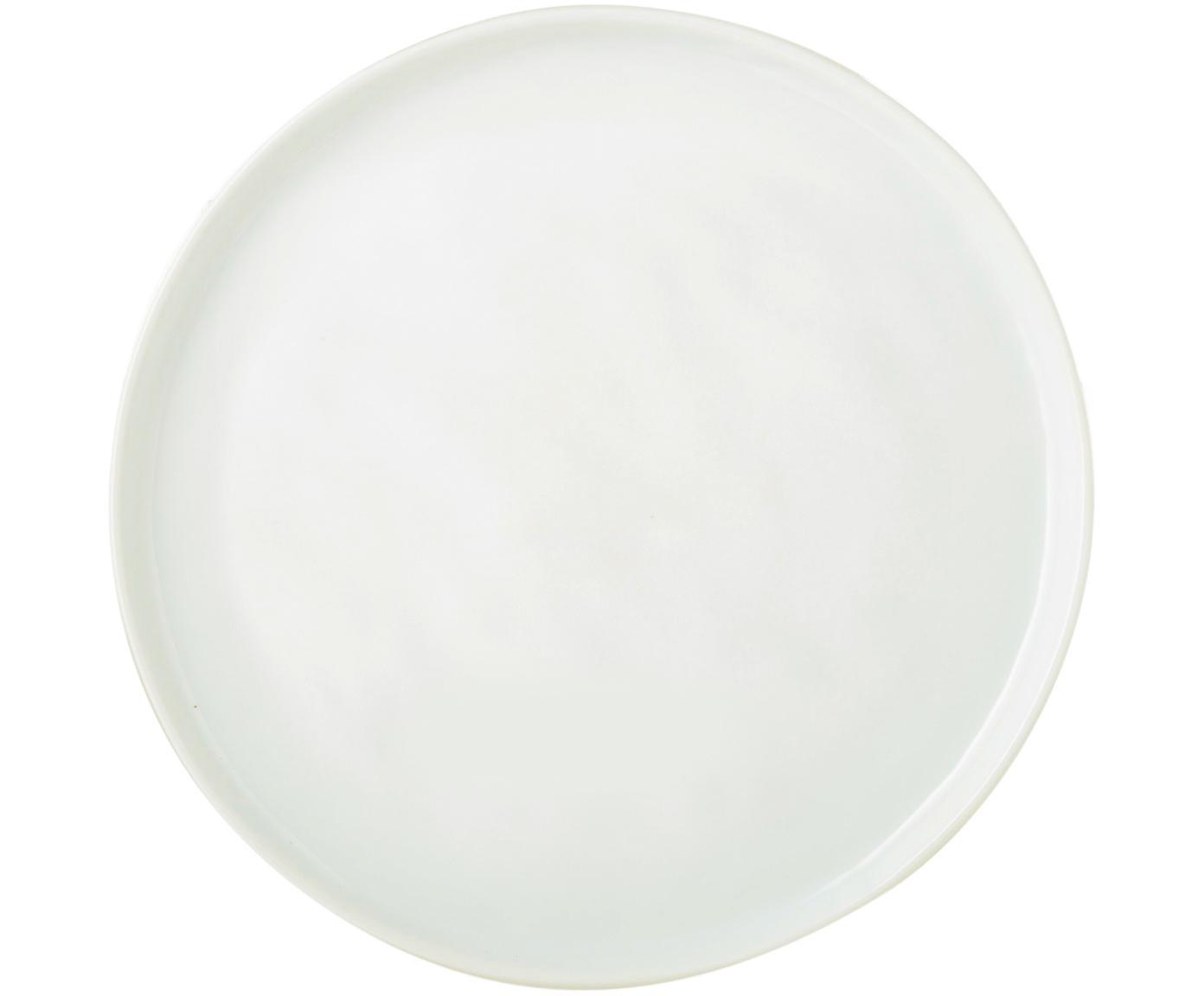 Frühstücksteller Porcelino mit unebener Oberfläche, 4 Stück, Porzellan, gewollt ungleichmässig, Weiss, Ø 22 cm