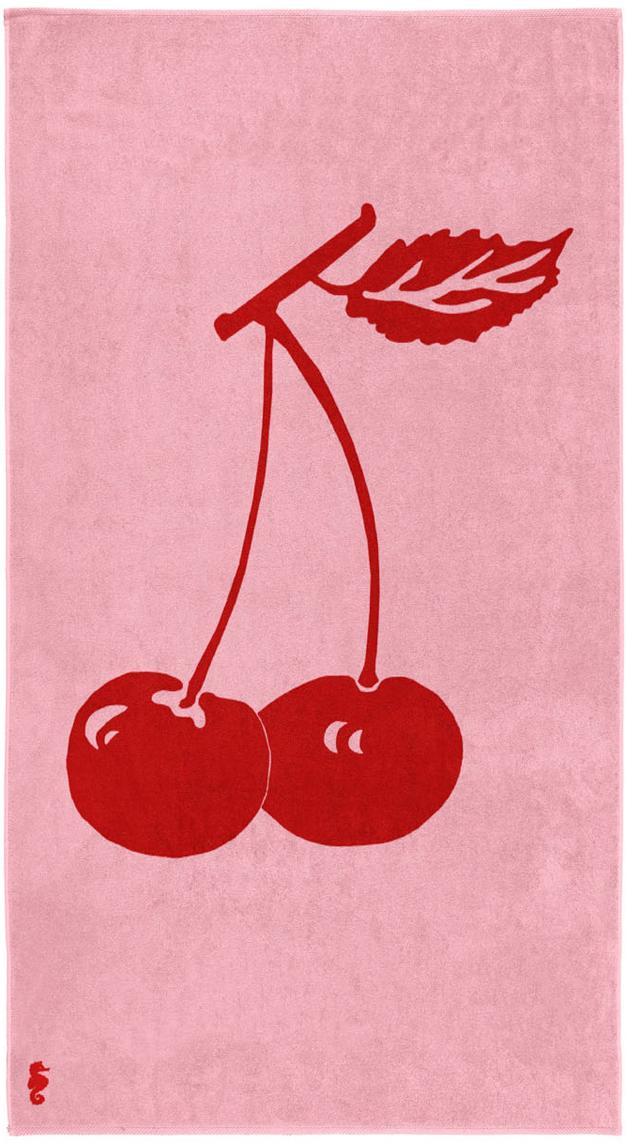 Telo mare Cherry, Velour (cotone) Qualità del tessuto di peso medio, 420g/m², Rosa, rosso, P 100 x L 180 cm