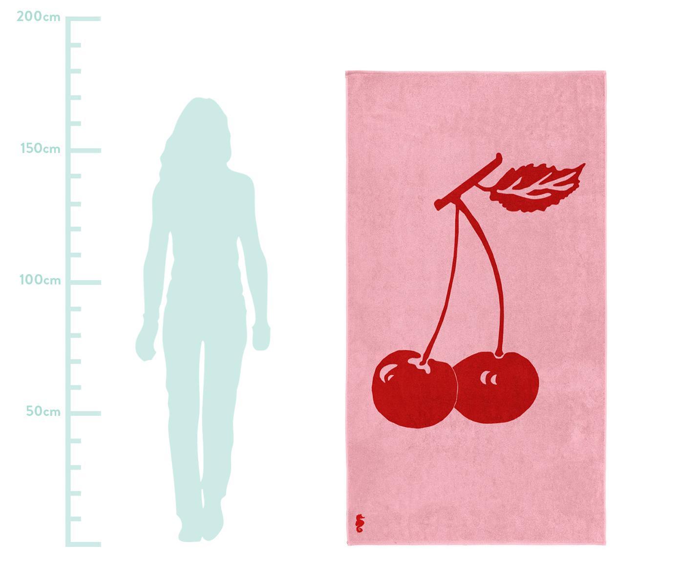 Strandtuch Cherry, 100% Velours (Baumwolle) mittelschwere Stoffqualität, 420g/m², Rosa, Rot, 100 x 180 cm