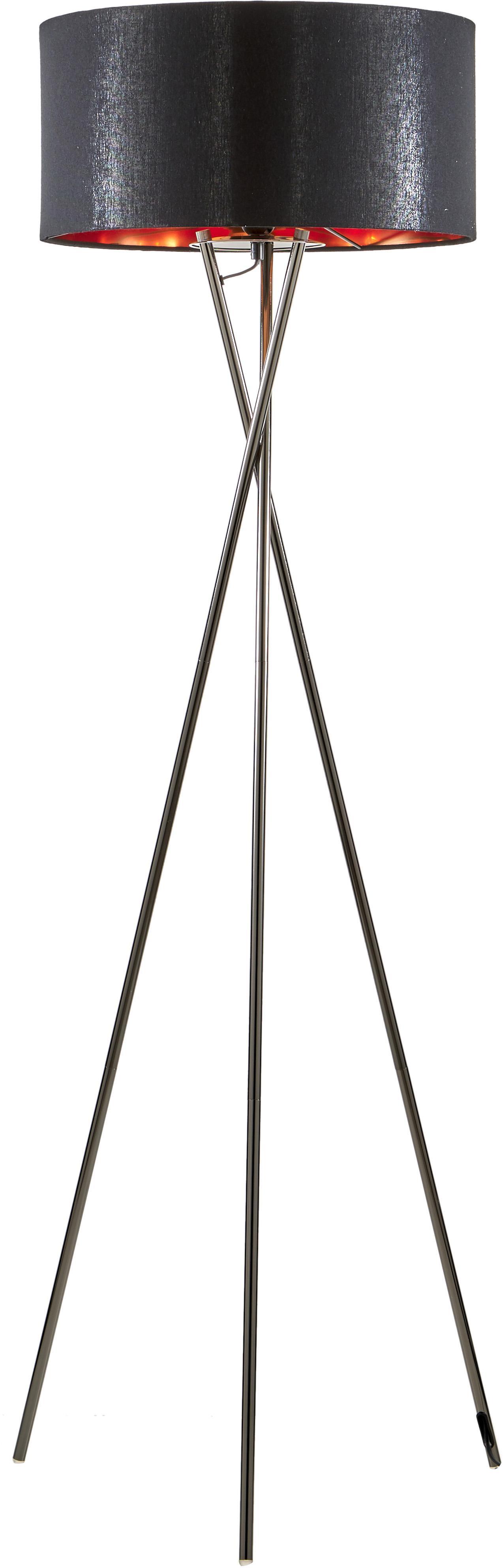Vloerlamp Giovanna, Frame: zwart verchroomd staal, Lampenkap: nylon, Zwart, koperkleurig, Ø 45 x H 154 cm