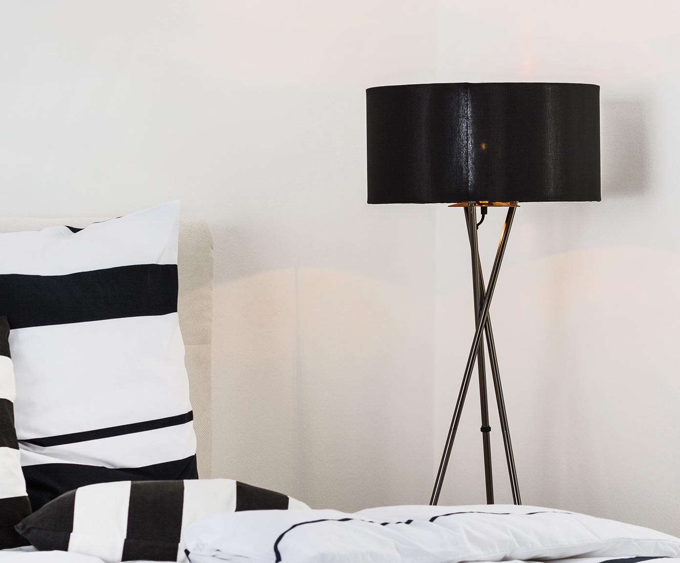 Lampada da terra Giovanna, Struttura: acciaio, nero cromato, Paralume: nylon, Nero, rame, Ø 45 x Alt. 154 cm