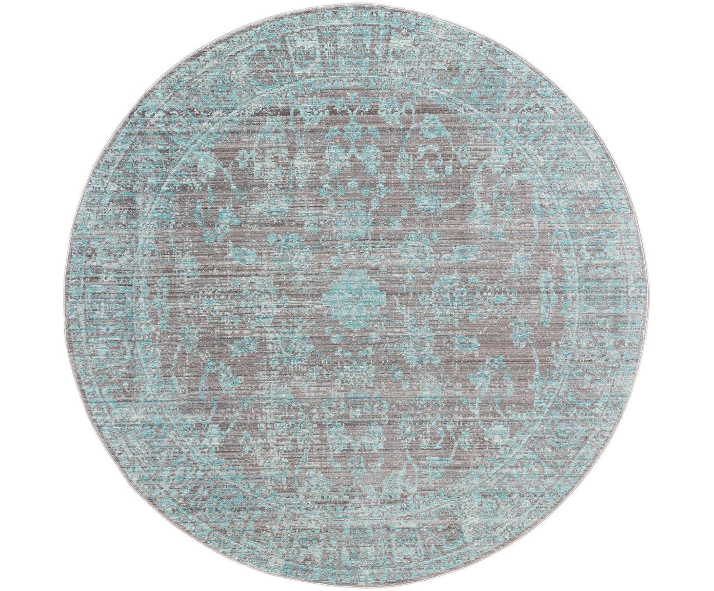 Tappeto rotondo con stampa vintage Visconti, Retro: cotone, Turchese, grigio, Ø 180 cm (taglia L)