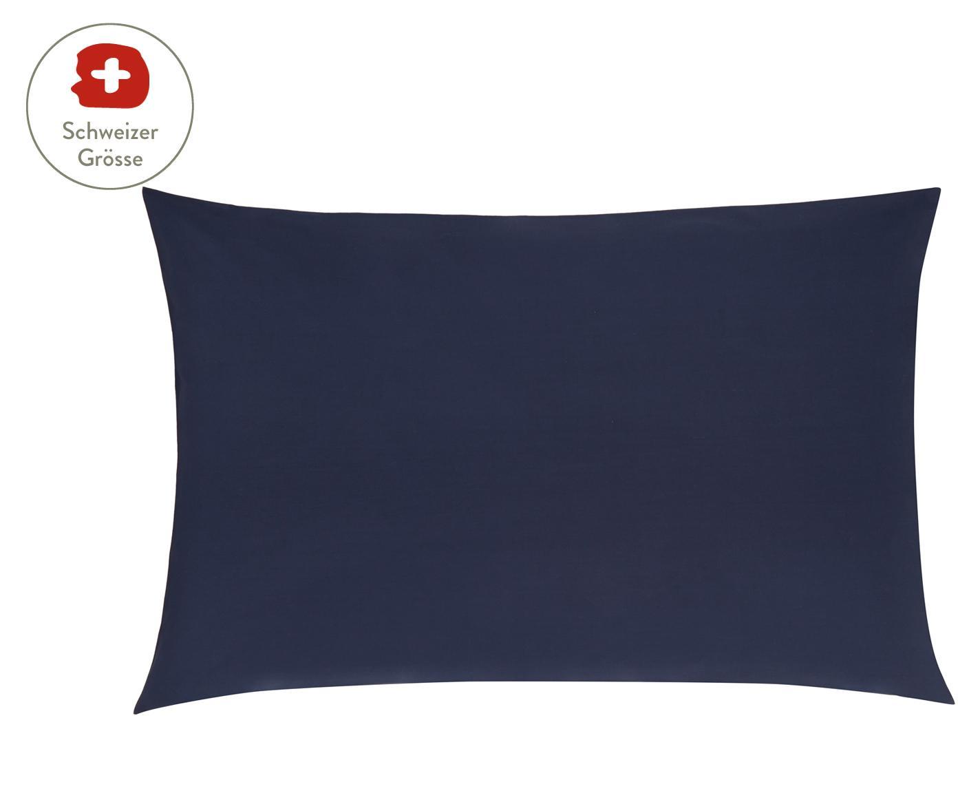 Baumwollperkal-Kissenbezug Elsie in Dunkelblau, Webart: Perkal Fadendichte 200 TC, Dunkelblau, 65 x 100 cm