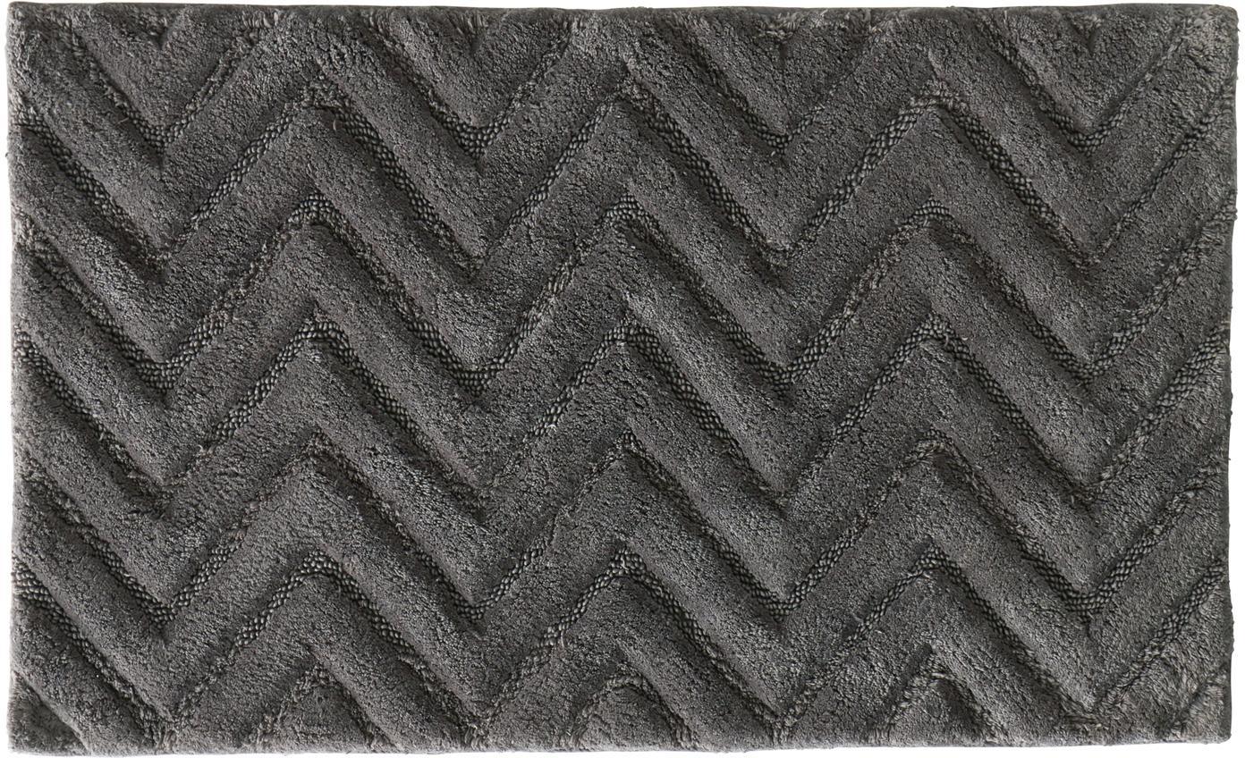 Tappeto bagno morbido grigio Arild, Cotone, Grigio scuro, Larg. 50 x Lung. 80 cm