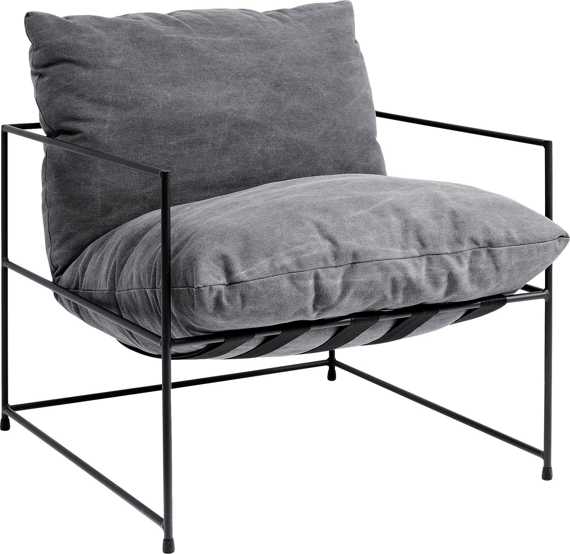 Fauteuil Cornwall, Bekleding: 85% katoen, 15% polyester, Frame: gepoedercoat staal, Riemen: rubber, Geweven stof grijs, B 72 x D 75 cm