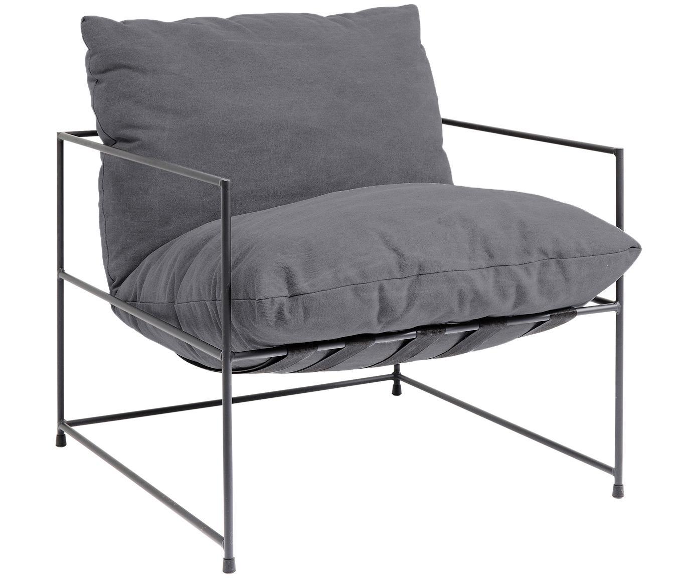 Fotel Cornwall, Tapicerka: 85% bawełna, 15% polieste, Stelaż: stal, malowana proszkowo, Stelaż: guma, Szary, S 72 x G 75 cm
