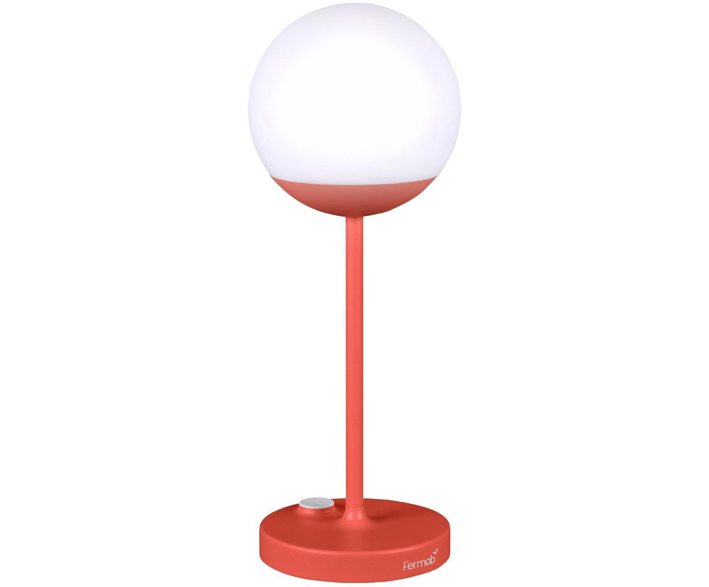 Lampada portatile da esterno a LED Mooon, Paralume: materiale sintetico, Rosso, Ø 15 x Alt. 41 cm