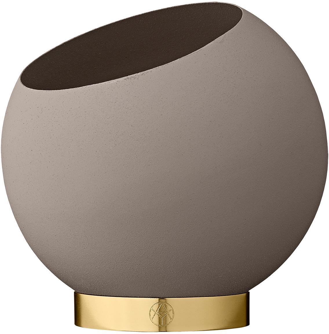 Übertopf Globe aus Metall, Übertopf: Metall, pulverbeschichtet, Taupe, Ø 17 x H 15 cm