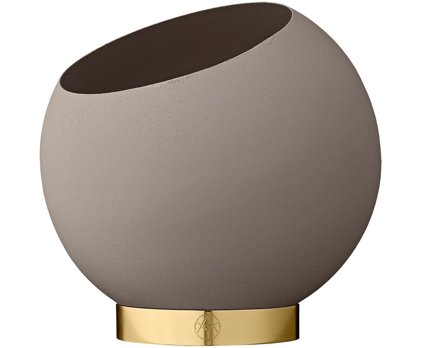 Übertopf Globe, Übertopf: Metall, pulverbeschichtet, Fuß: Edelstahl, beschichtet un, Taupe, Ø 17 x H 15 cm