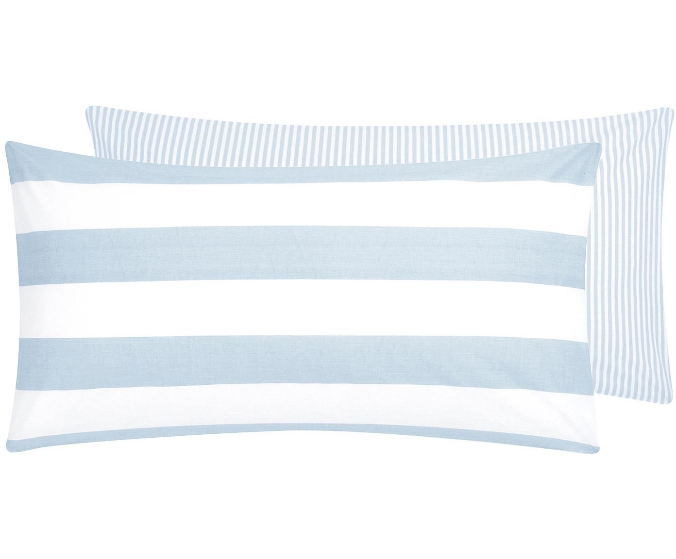 Dwustronna poszewka na poduszkę z bawełny Lorena, 2 szt., Jasny niebieski, S 40 x D 80 cm