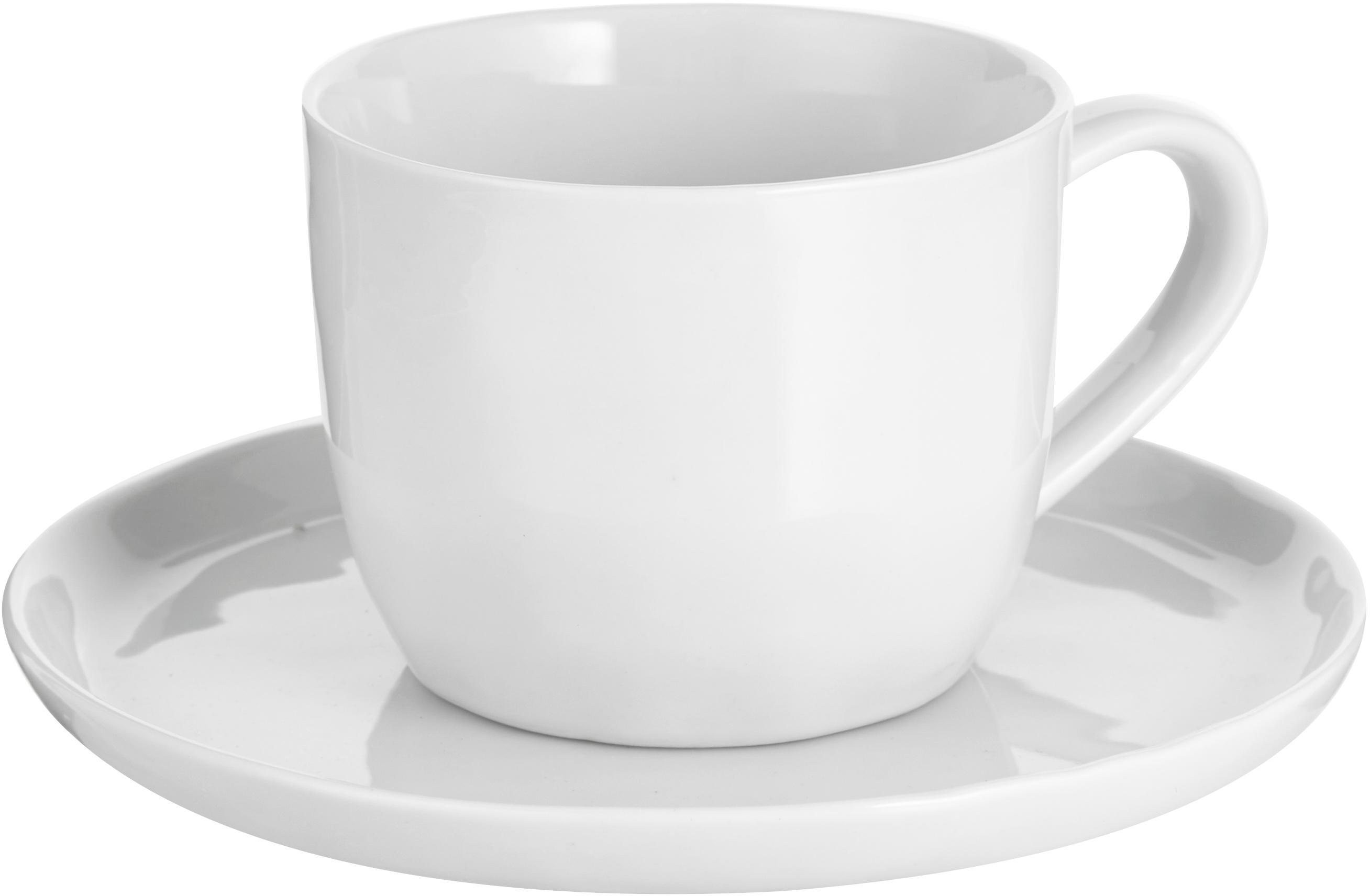 Set tazze in porcellana Porcelino 12 pz, Porcellana, volutamente irregolare, Bianco, Ø 15 x Alt. 8 cm