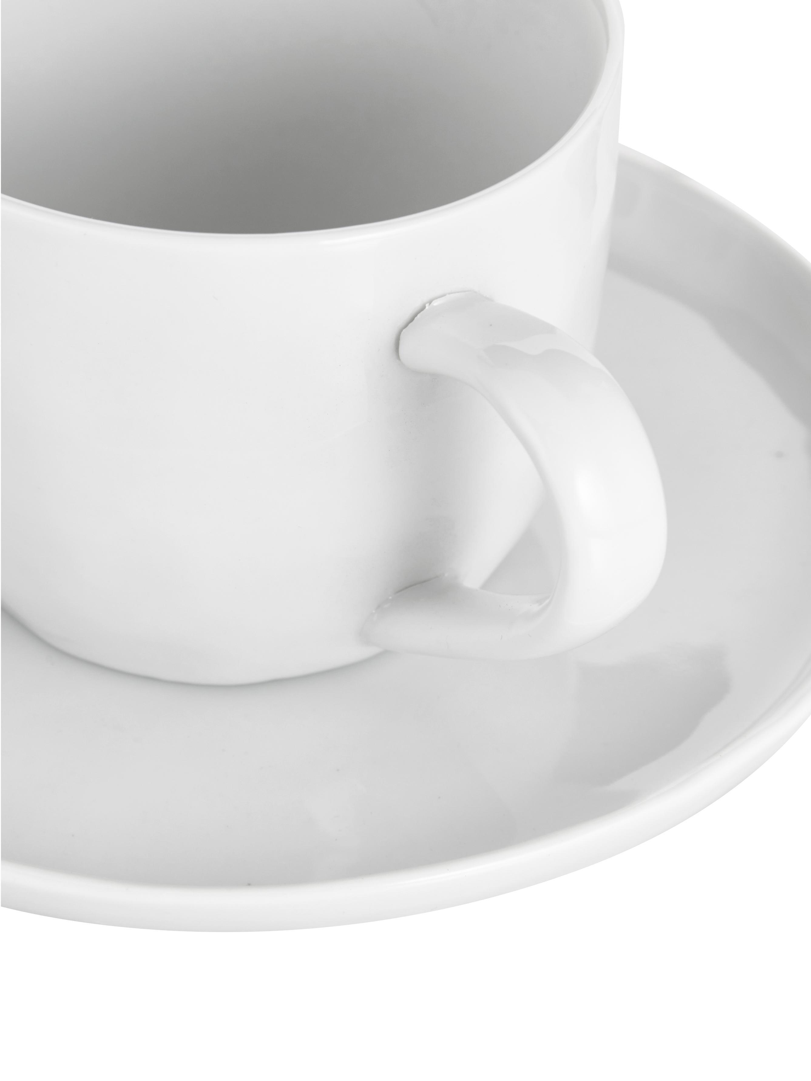 Tasse mit Untertassen Porcelino mit unebener Oberfläche, 6 Stück, Porzellan, gewollt ungleichmäßig, Weiß, Ø 15 x H 8 cm