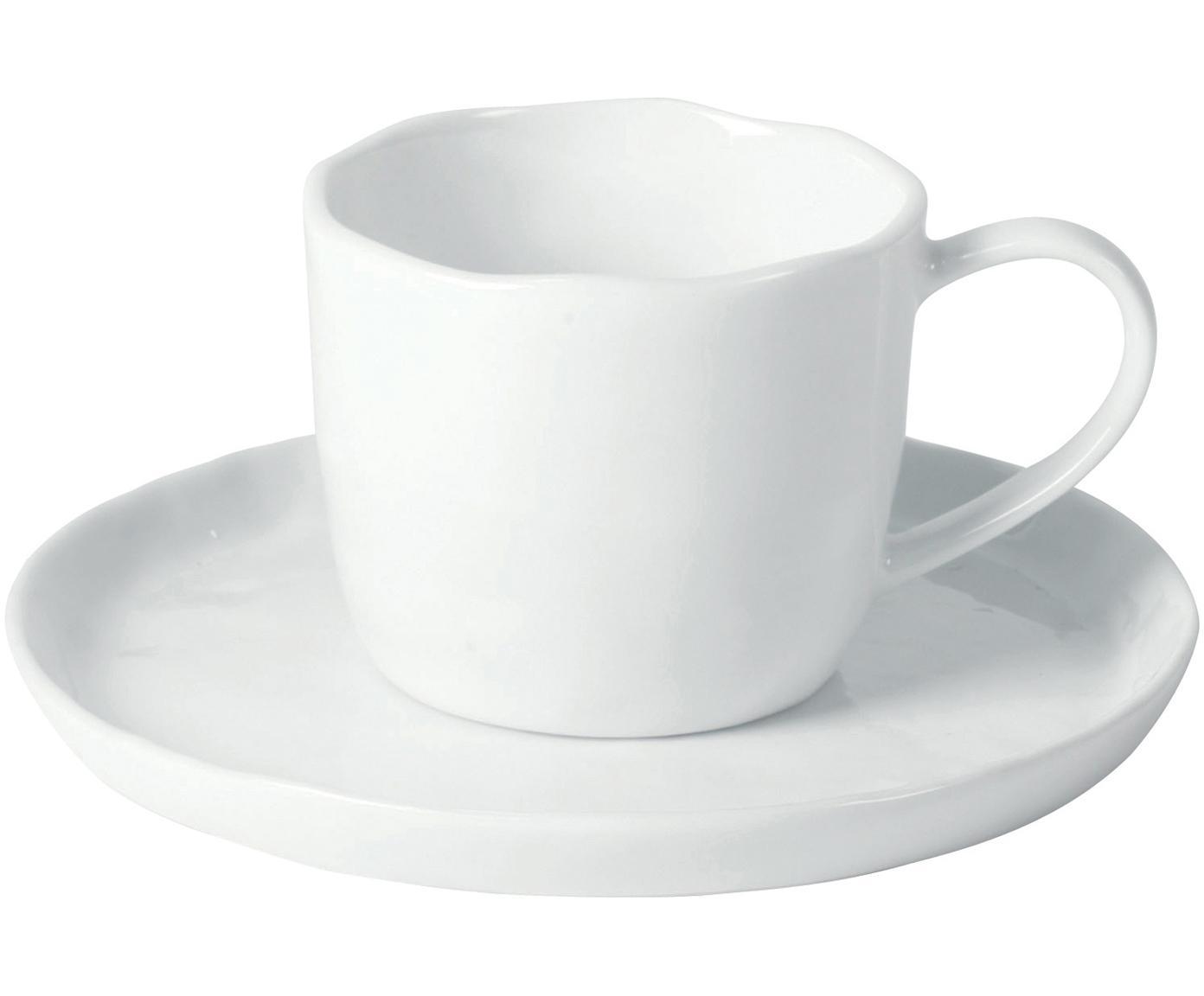 Tassen mit Untertassen Porcelino mit unebener Oberfläche, 6 Stück, Porzellan, gewollt ungleichmässig, Weiss, Ø 15 x H 8 cm