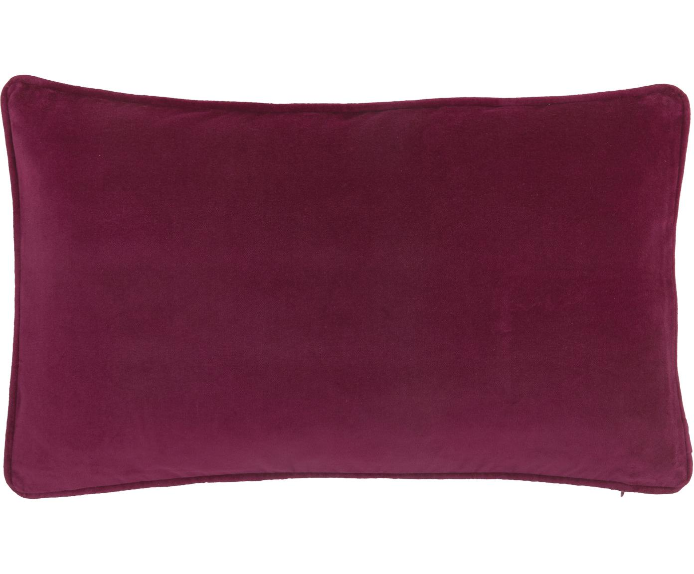 Effen fluwelen kussenhoes Dana in wijnrood, Katoenfluweel, Wijnrood, 30 x 50 cm