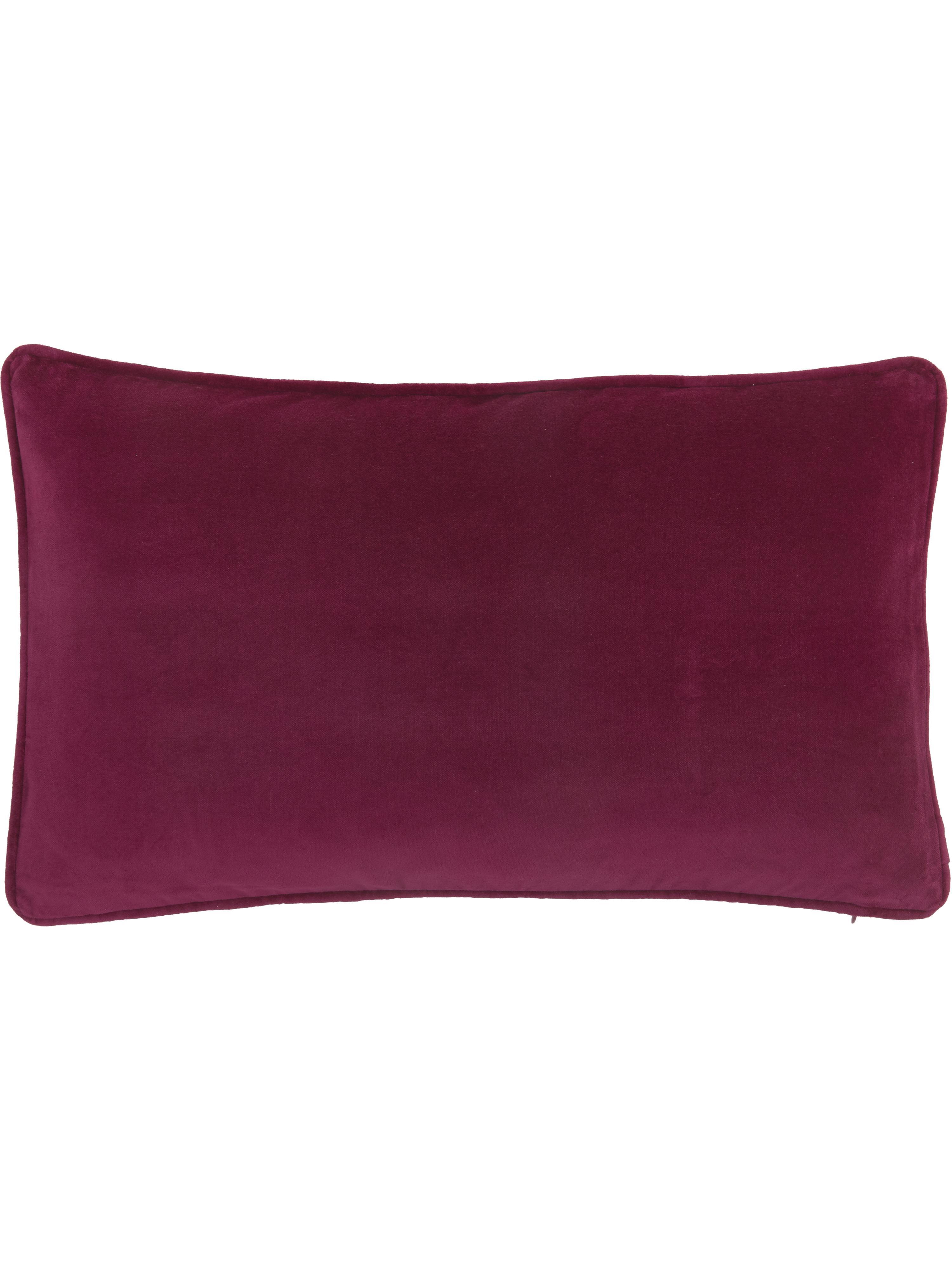 Funda de cojín de terciopelo Dana, Terciopelo de algodón, Color vino, An 30 x L 50 cm
