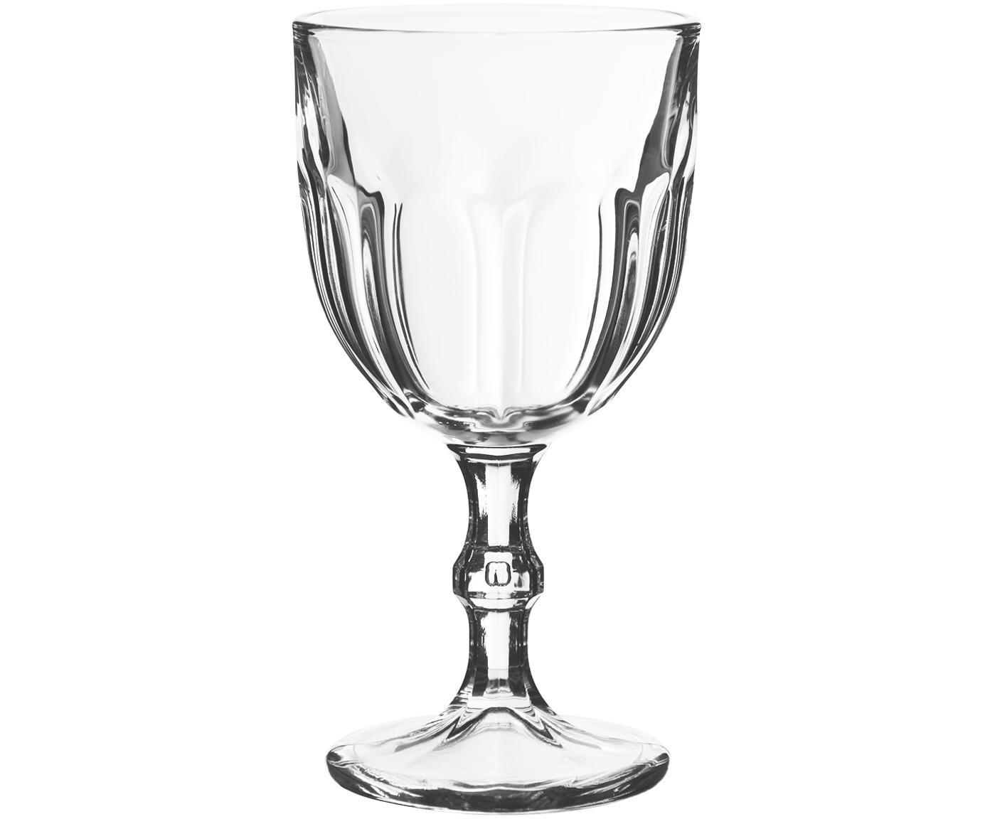 Copas de vino con relieveLousanne, 6uds., Vidrio, Transparente, Ø 9 x Al 17 cm