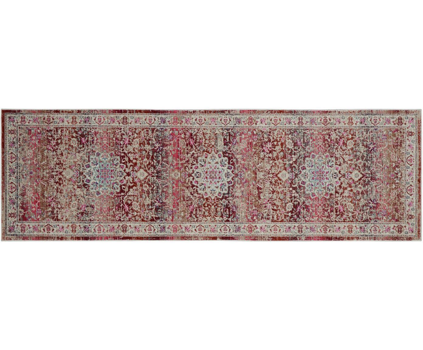 Passatoia a pelo corto Kashan Age, Retro: Latex, Beige, tonalità rosse, Larg. 60 x Lung. 180 cm