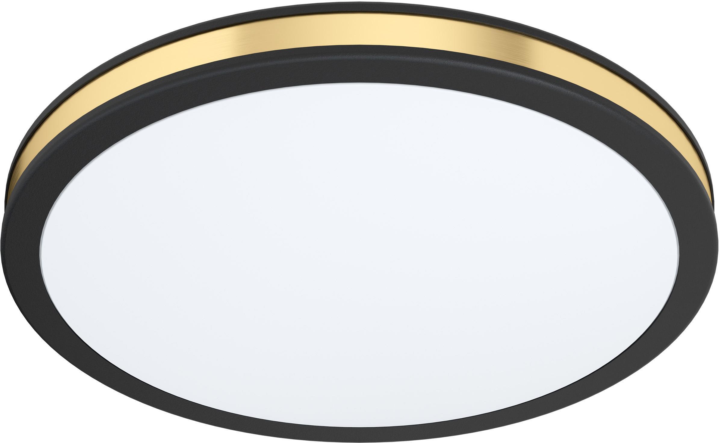 LED plafondlamp Pescaito, Lampenkap: kunststof, Baldakijn: gelakt metaal, Zwart, goudkleurig, Ø 28 x H 5 cm