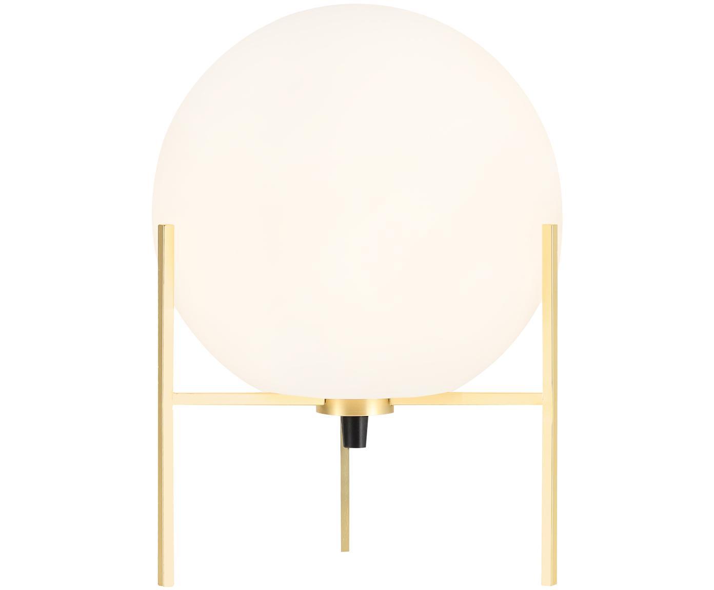 Tischleuchte Alton aus Opalglas, Lampenfuß: Messing, Messing, Weiß, Ø 20 x H 29 cm