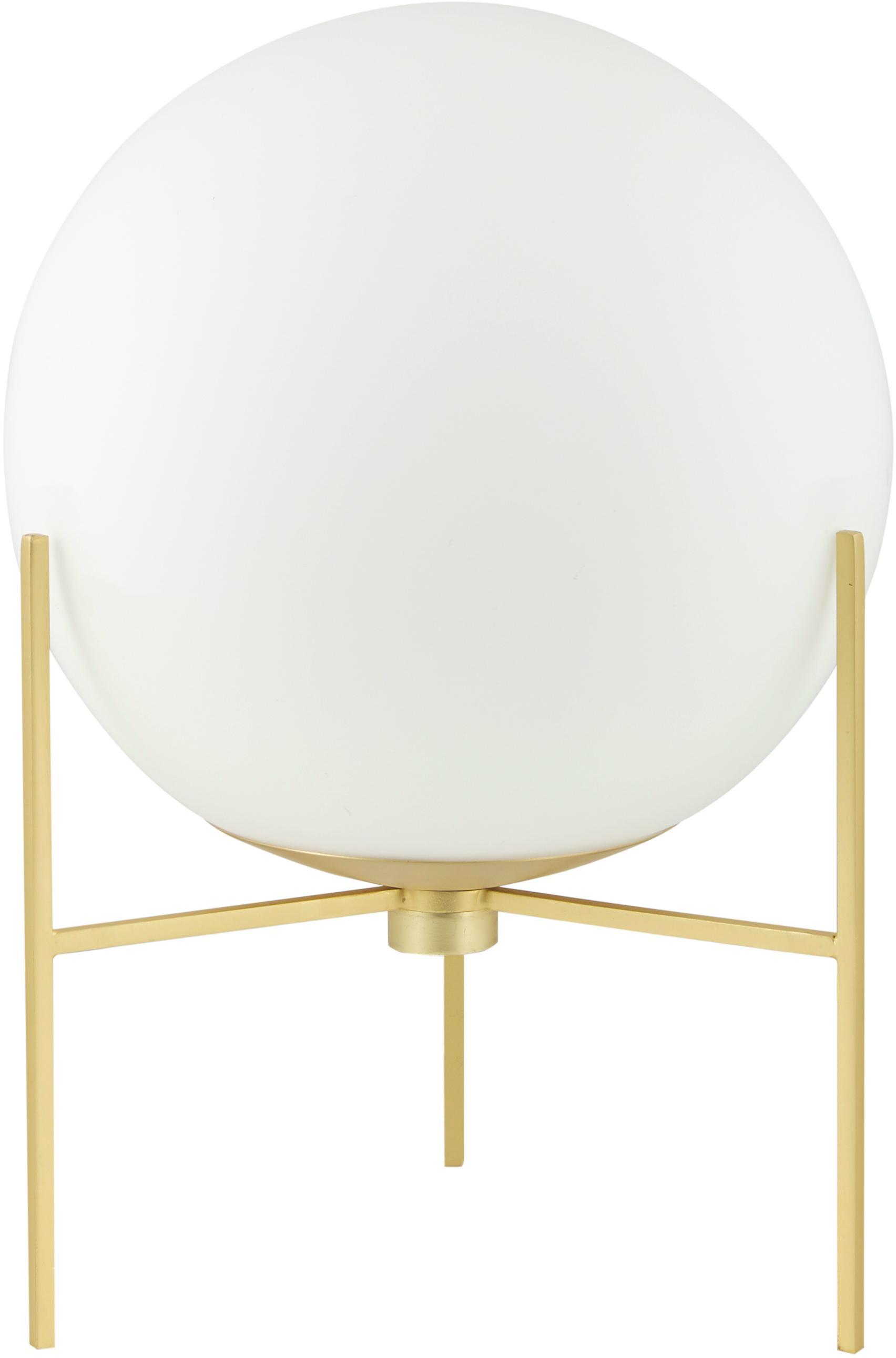 Tafellamp Alton van opaalglas, Lampvoet: messing, Diffuser: opaalglas, Messingkleurig, wit, Ø 20 x H 29 cm