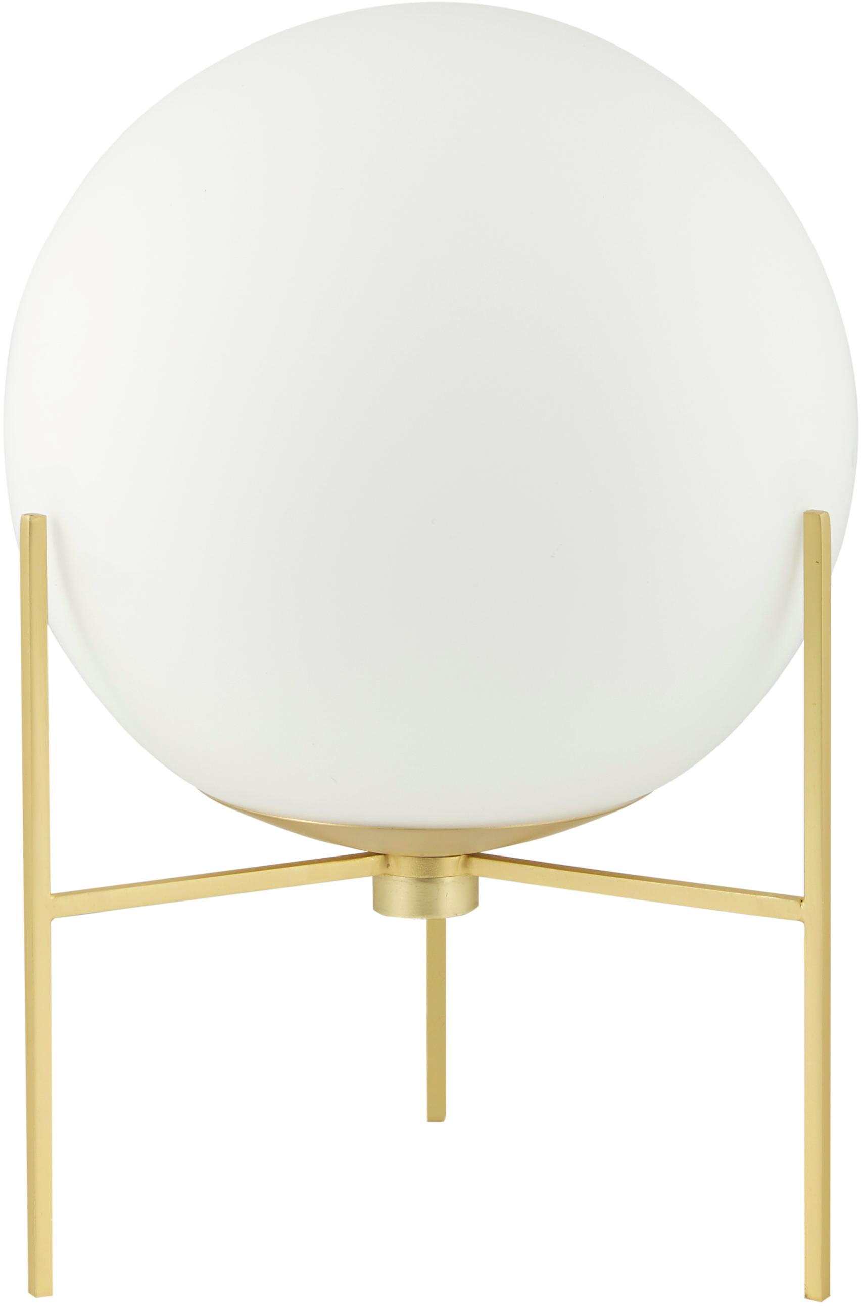 Tischlampe Alton aus Opalglas, Lampenfuß: Messing, Lampenschirm: Opalglas, Messing, Weiß, Ø 20 x H 29 cm