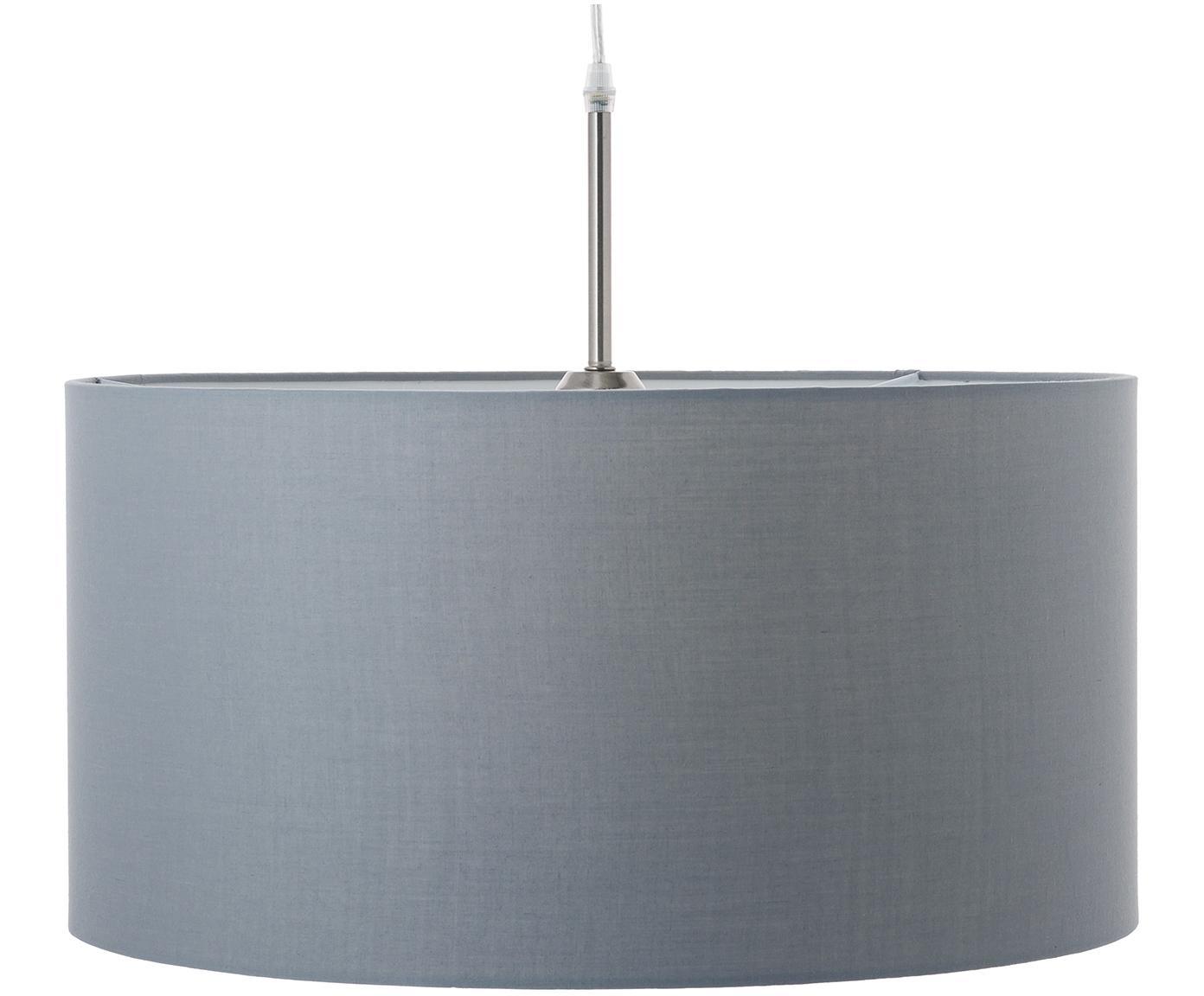 Pendelleuchte Blank aus Baumwolle, Lampenschirm: Baumwollgemisch, Baldachin: Metall, vernickelt, Grau, ∅ 50 x H 25 cm