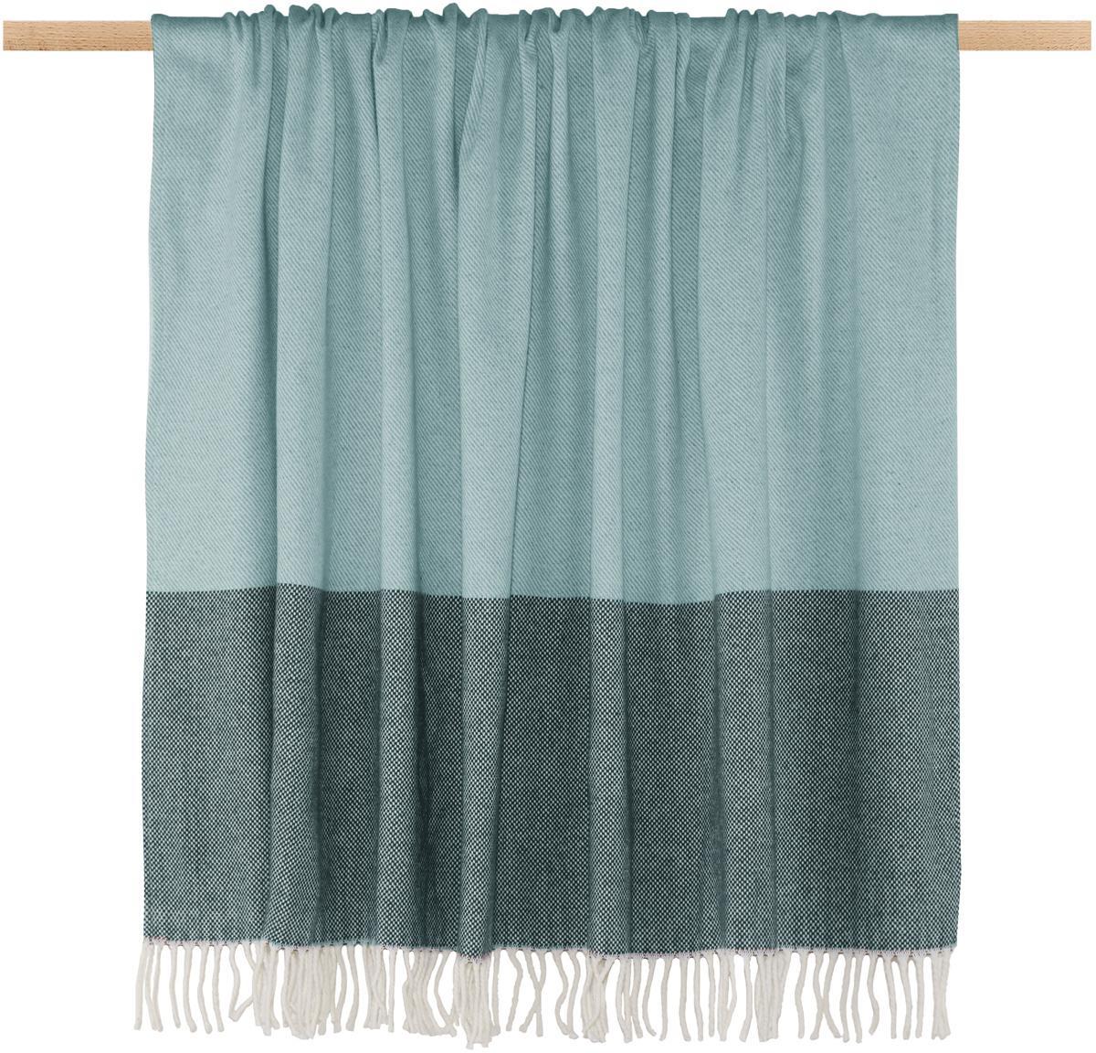 Plaid a righe Stripes, 50% cotone, 50% poliacrilico, Toni blu, Larg. 150 x Lung. 200 cm