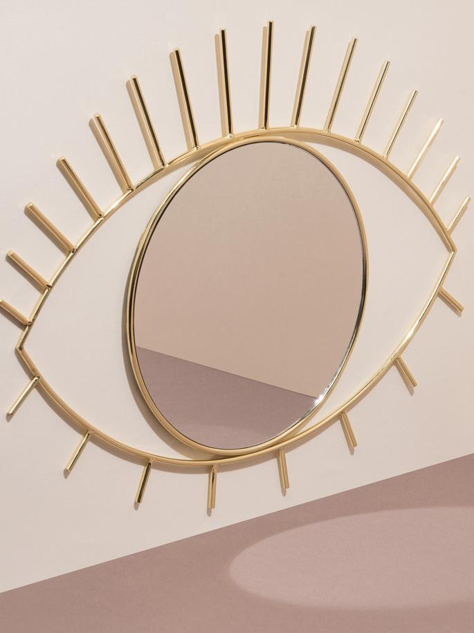 Wandspiegel Lashes mit Goldrahmen, Rahmen: Edelstahl, beschichtet, Spiegelfläche: Spiegelglas, Rahmen: GoldfarbenSpiegelfläche: Spiegelglas, 50 x 39 cm