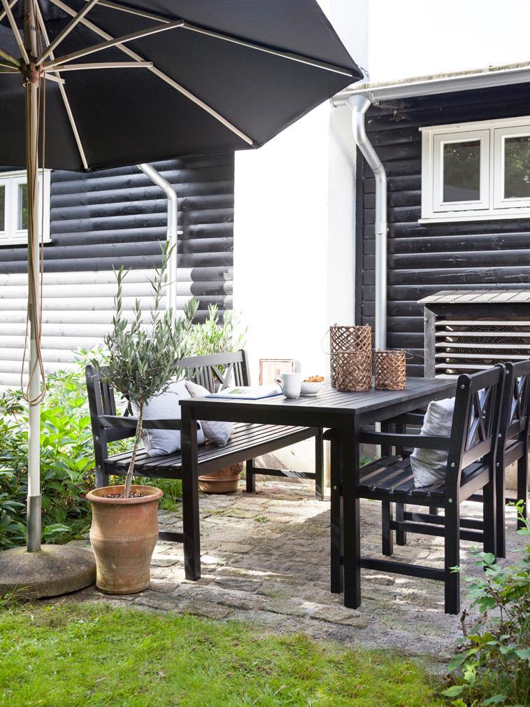Garten-Esstisch Rosenborg aus Holz, Mahagoniholz, polyurethanlackiert, Schwarz, B 165 x T 80 cm