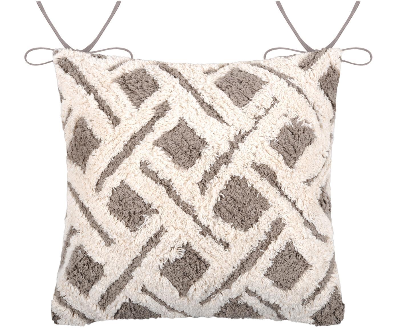 Cuscino sedia boho Tarawa, Rivestimento: cotone, Grigio, bianco, taupe, Larg. 40 x Lung. 40 cm