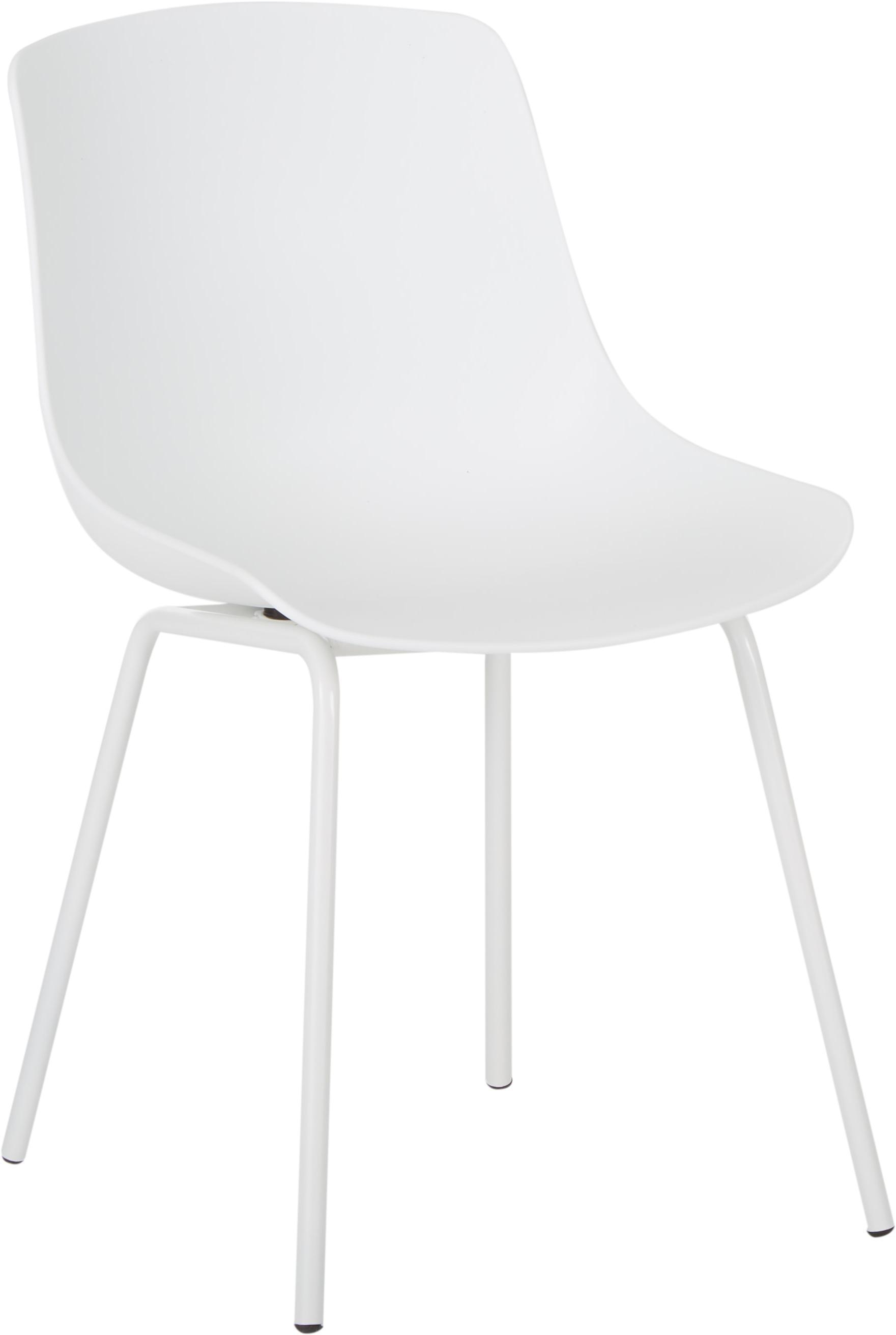 Sillas de plástico Joe, 2uds., Asiento: plástico, Patas: metal con pintura en polv, Blanco, An 46 x F 53 cm