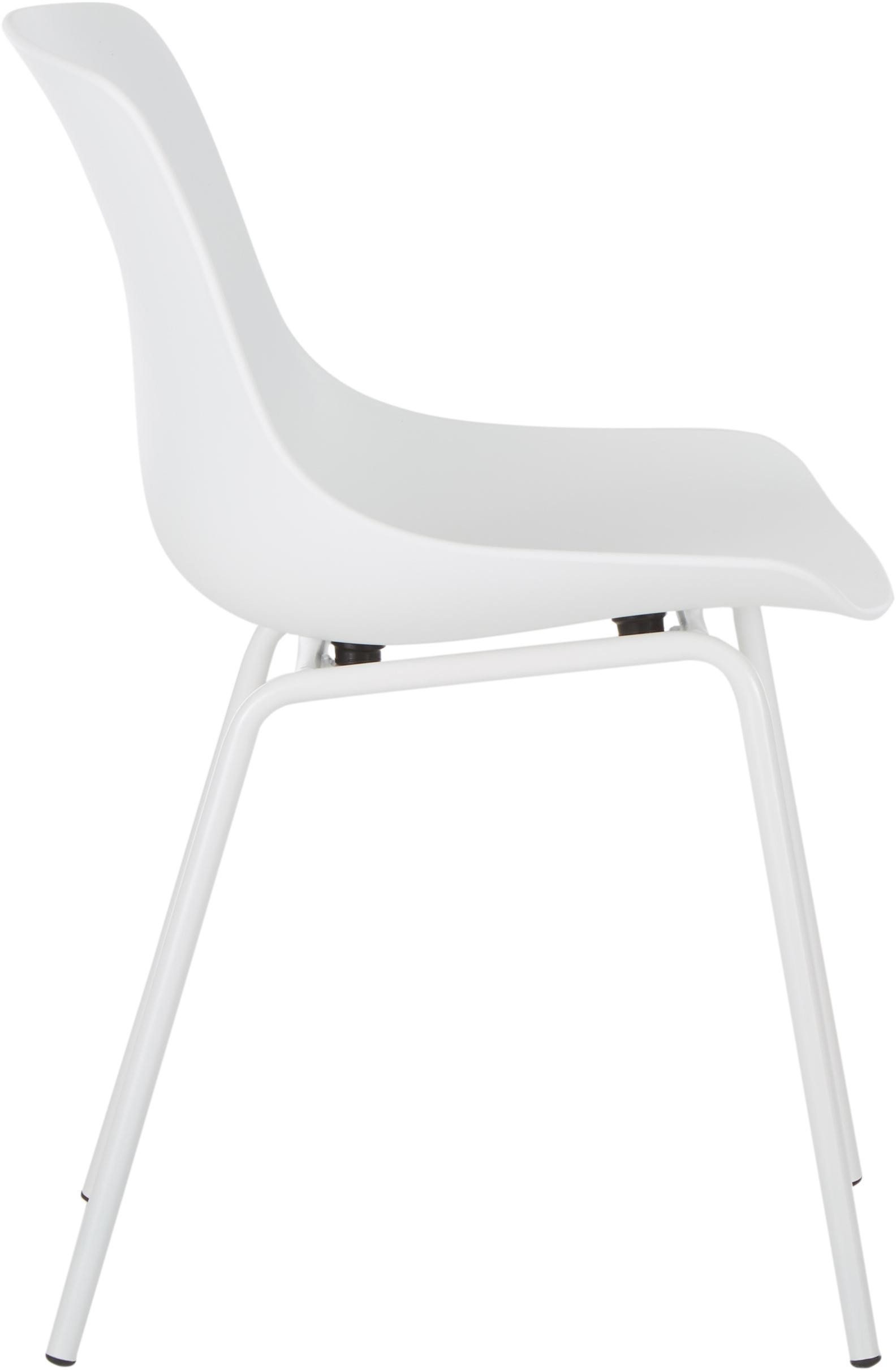 Kunststoffstühle Dave mit Metallbeinen, 2 Stück, Sitzfläche: Kunststoff, Beine: Metall, pulverbeschichtet, Weiß, B 46 x T 53 cm