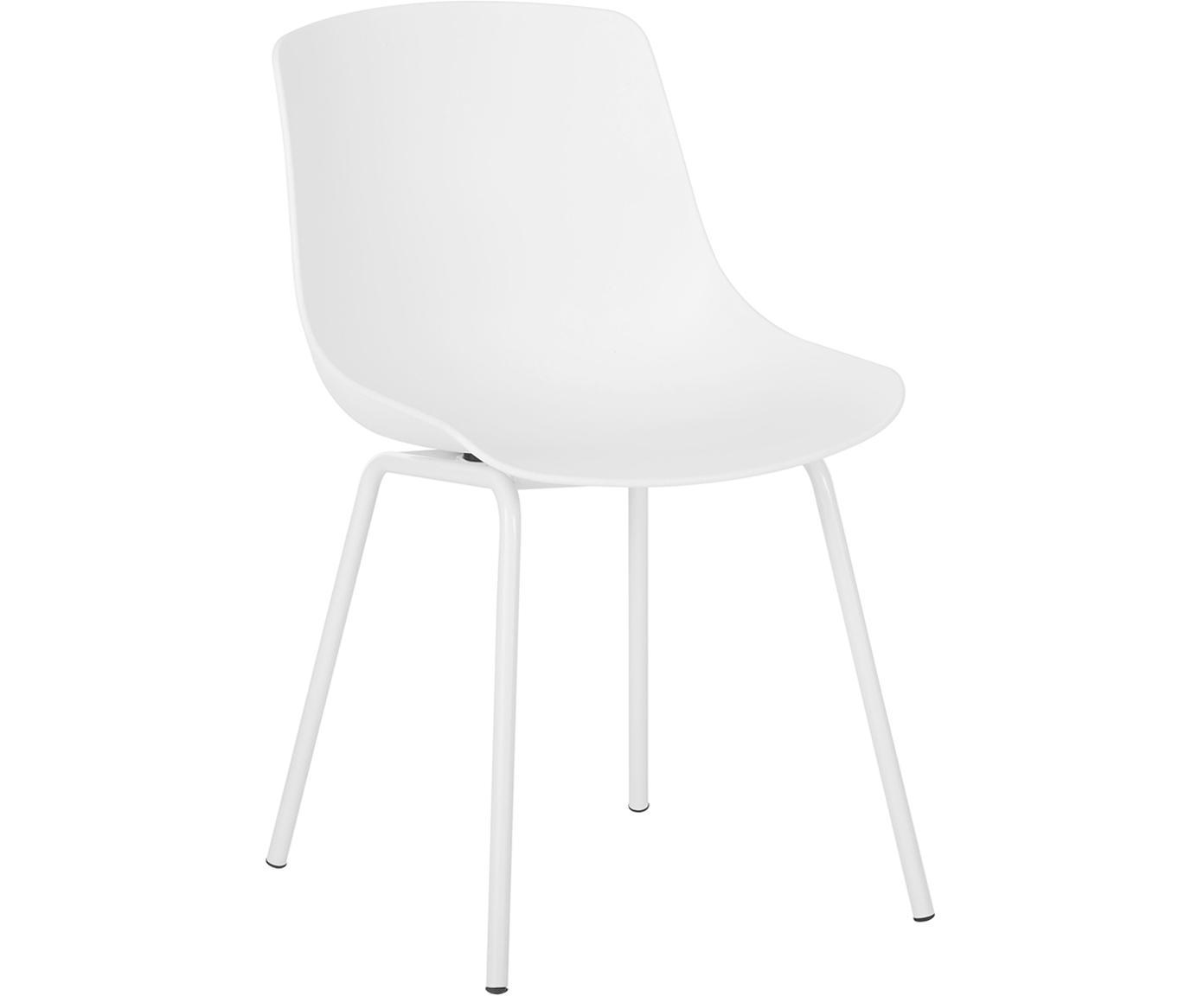 Kunststoffstühle Dave mit Metallbeinen, 2 Stück, Sitzfläche: Kunststoff, Beine: Metall, pulverbeschichtet, Weiss, B 46 x T 53 cm