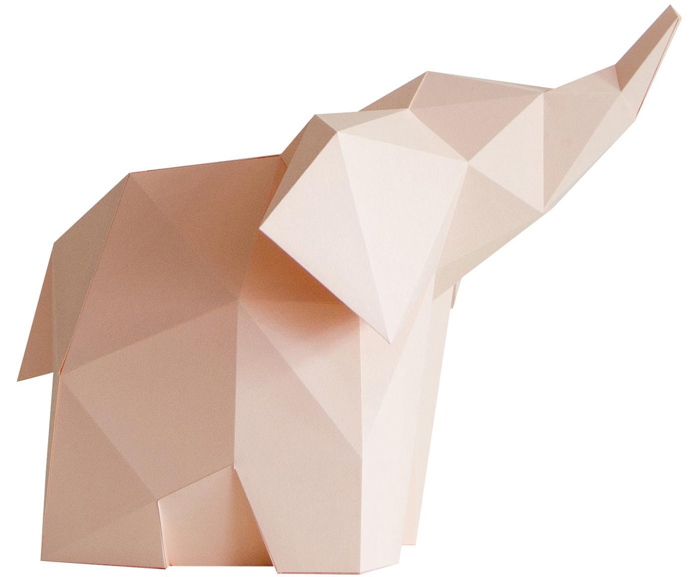 Tischleuchte Baby Elephant, Bausatz aus Papier, Lampenschirm: Papier, 160 g/m², Sockel: Holzfaserplatte und Kunst, Rosa, 23 x 24 cm