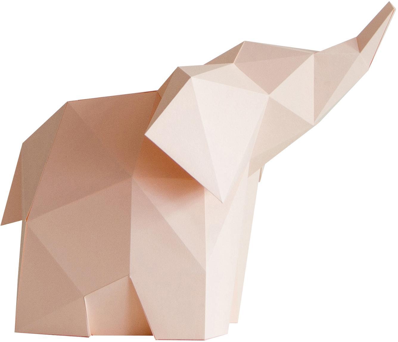 Tafellamp Baby Elephant, bouwpakket van papier, Lampenkap: papier, 160 g/m², Voetstuk: MDF, kunststof, Roze, 23 x 24 cm